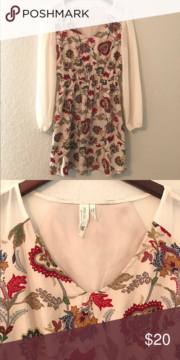 ModCloth Fall Paisley Dress, Size S A fall colored paisley dress with cream colored, sheer sleeves! Paired with ballet flats or oxfords, this dress can be dressed up or down. Gently used, in great condition! ModCloth Dresses Mini