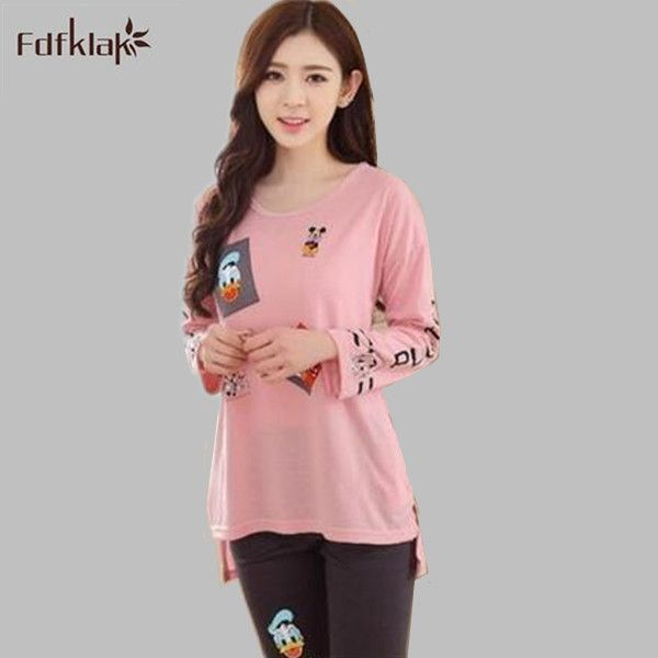 Spring Autumn pajamas female leisure sleepwear cotton pyjamas women long sleeve pyjamas femme pijamas set pink/black S0011