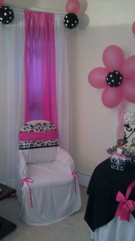 black and white polka dots and damask with fuschia / hot pink accents Baby Shower Party Ideas | Photo 4 of 12 | Catch My Party