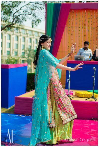 Sharara , mehendi sharara , gota jewellery , turquoise dupatta , colorful mehendi outfit