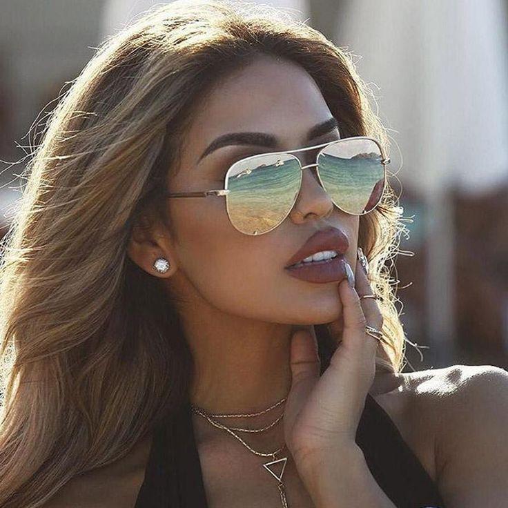 Damen-Sonnenbrille 2019 Modemarkendesigner Mirror Shades Pilot Female Fashion Flat-Top-Brille für Ihre Gesichtsform Vintage Trend Aviators 2018 Übergroßes rundes Top 10 mit Farbverlauf