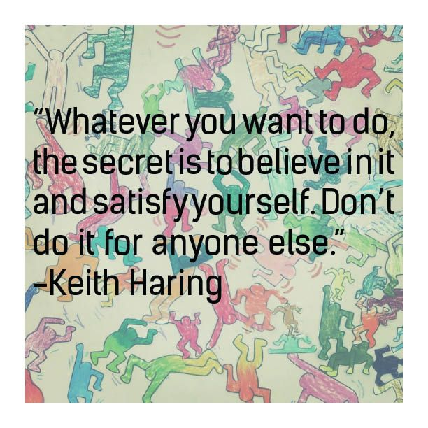 Keith Haring quote with artwork from a workshop of Art Relief International
