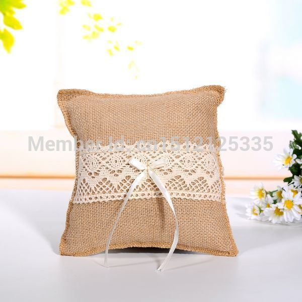 Vintage Hessian & Lace Ring Pillow Hessian ring pillow Rustic Wedding Home Favors Decor (HRP01)