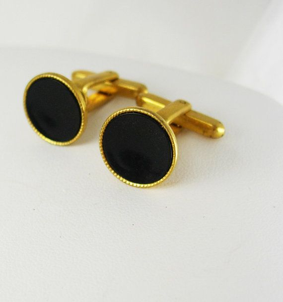 Early Hickok USA Tuxedo Vintage Cufflinks Black Gold Filled Wedding Anniversary