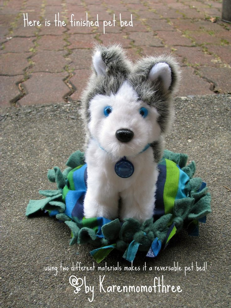 Karen Mom of Three's Craft Blog: Make a no sew pet bed for your dolls pet