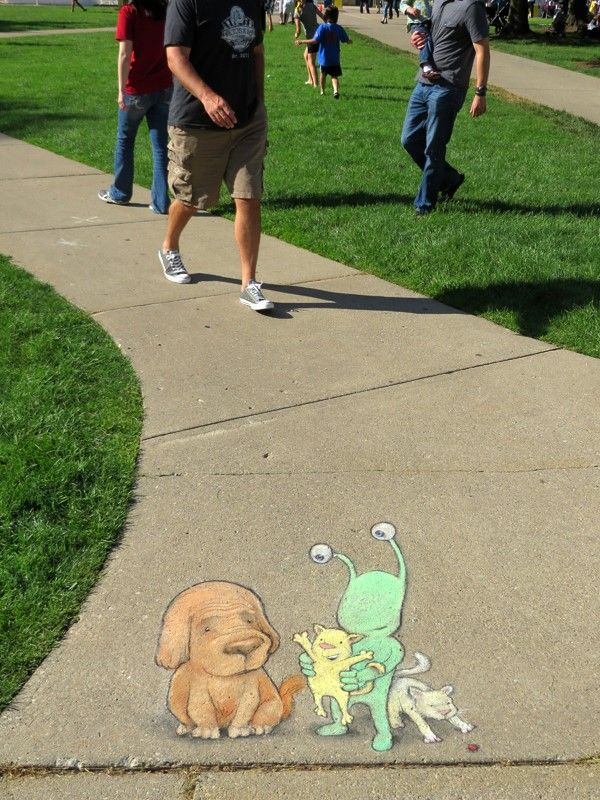 David Zinn - With Sluggo at Ann Arbor Summer Festival: Top of the Park. June 2014