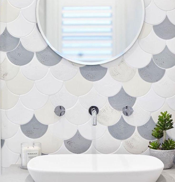 Amber Tiles Kellyville: pinned from Instagram (@ambertiles). Lanas guest bathroom reveal, the mermaid tile making a splash again . Three Birds Renovations.  #mermaidtile #fishscale #featurewall #featuretile #bathroom #bathroominspiration #ambertiles #ambertileskellyville