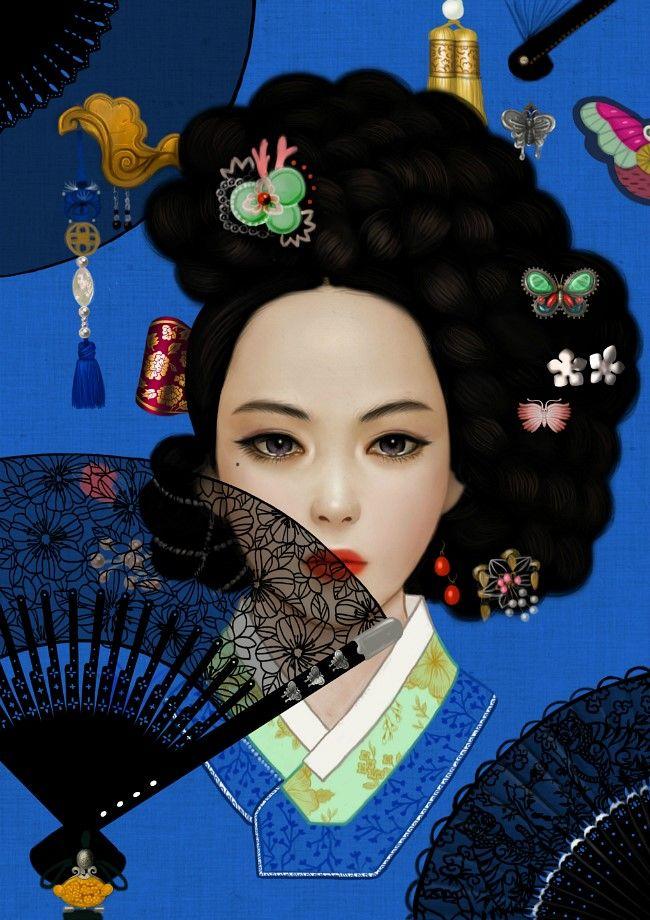 hanbok illustration 기생 일러스트-3 (일러스트/한국적인/한국적인 일러스트/한국적인 그림/기생/기생 일러스트/화려한 일러스트) : 네이버 블로그