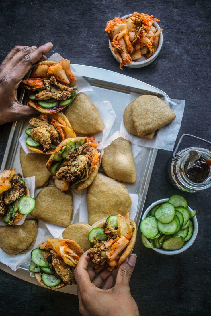 Crispy Wild Mushroom Bao with Kimchi + Pickled Cucumbers {vegan} | Chocolate For Basil