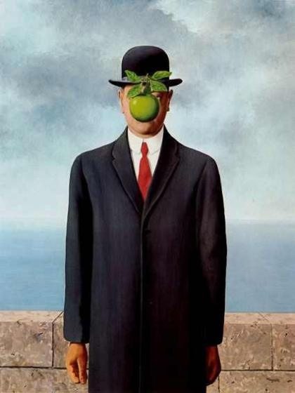 René Magritte is one of my favourite artists, and perhaps my fave surrealist.  Although this painting, 'Son of Man' may be Magritte's most iconic piece, it is just one of great number of works that are as brilliant as the other.  His work addresses linguistics, philosophy, biases, perception, and a host of other concepts with the genius of simplicity.  His work forces us to participate in the art.  It is impossible to just 'look' at the picture he's created.