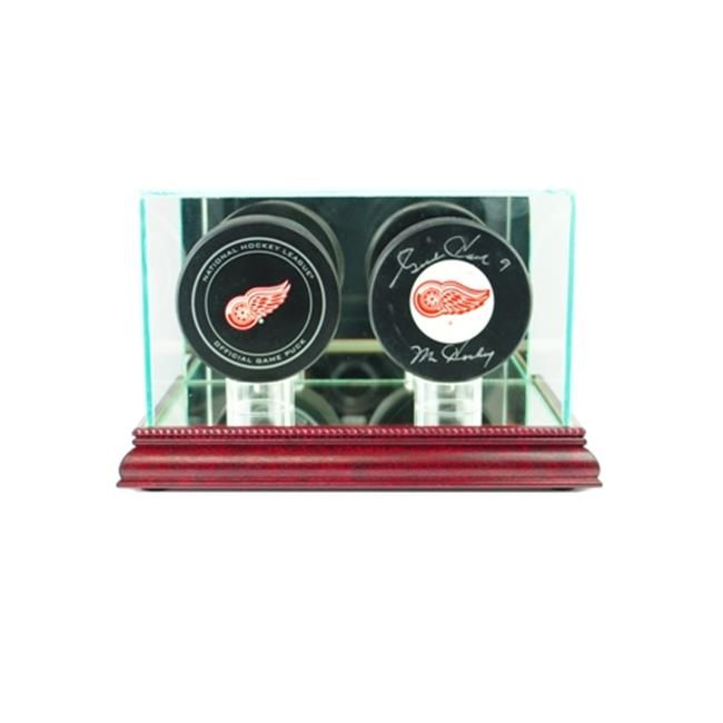 Perfect Cases Dbpk C Double Hockey Puck Display Case 44 Cherry Hockey Puck Display