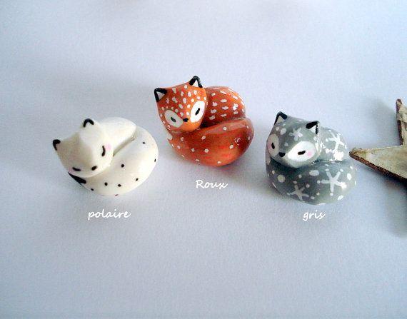 Petite Amulette Mon renard roux gris ou blanc au par oMamaWolf