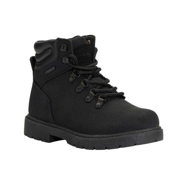 """Women's Lugz Grotto Ballistic 6"""" Work Boot ($66) ❤ liked on Polyvore featuring shoes, boots, black, casual, work boots, laced boots, black work boots, black boots, slip resistant shoes and lace up work boots"""