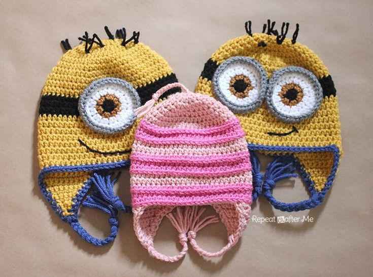 Free Crochet Pattern For Girl Minion Hat : Despicable Me Crochet Hat Pattern Repeat Crafter Me ...