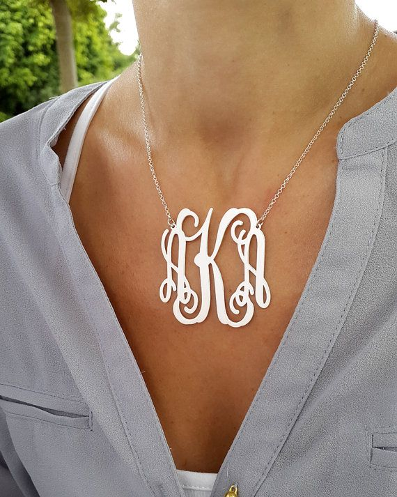 Personalized Monogram necklace, choose 1-3 letters a you wish. Size: This is a 2 wide Thickness: 0.7mm I use 925 Sterling silver for pendant