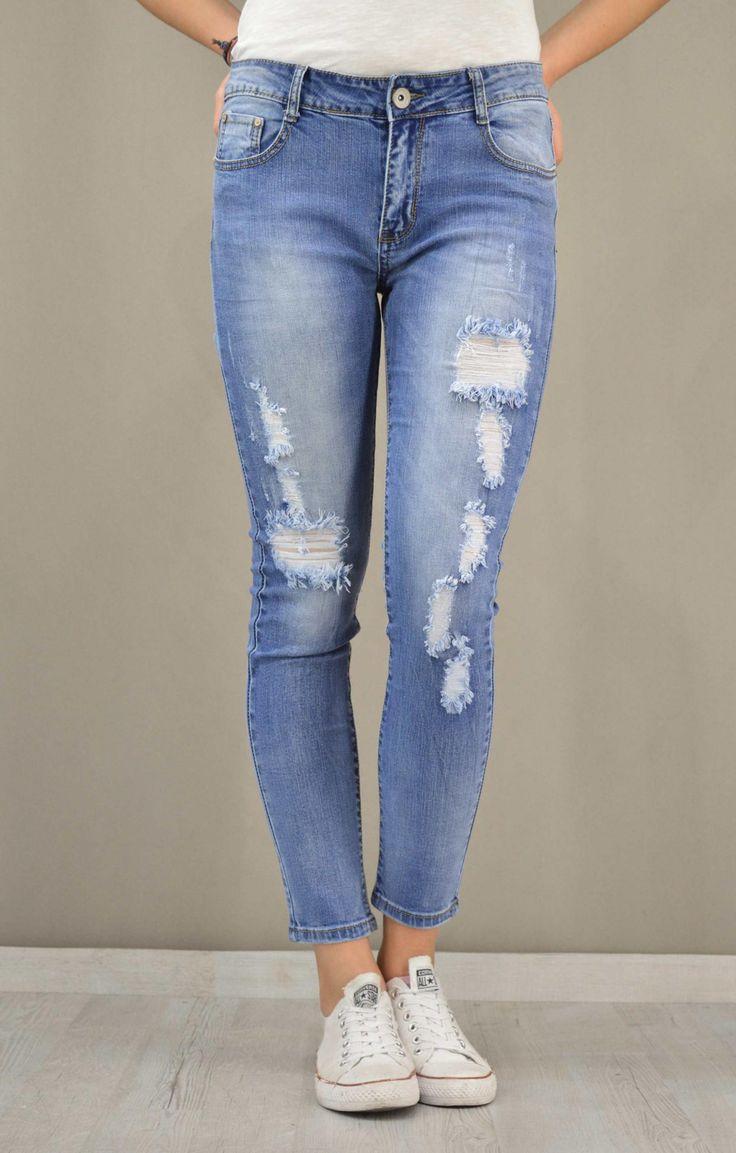Γυναικείο τζίν skinny με σκισίματα | Παντελόνια jeans - Jeans &