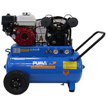 Puma Industries Air Compressor, PUN-5520G, Single Stage Gas Powered Belt Drive Series, 5.5 HP Running, 135 Max PSI, Honda Engine, 20 Gallons, 202 lbs