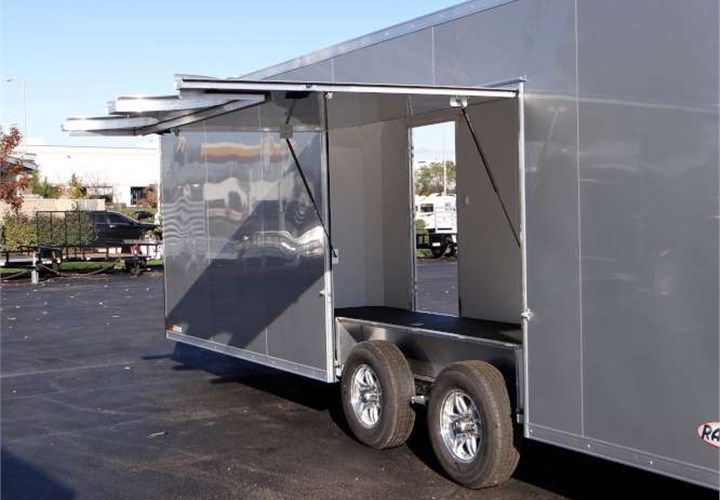 24' Silver Frost Car Hauler With Premium Escape Door. This Is a Very Nice 8.5' x 24' Enclosed Car Hauler with a Rear Ramp Door, a Side Door, Screwless Aluminum Exterior, a Premium Escape Door and 7' Inside Height. $15,495 Any applicable fees and taxes are extra. Ref # HE206308   Advantage Trailers and Hitches