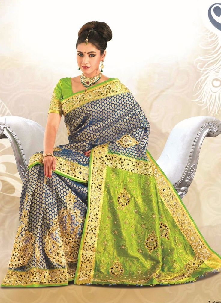 Blue Green Embroidered Kanchipuram Silk Saree