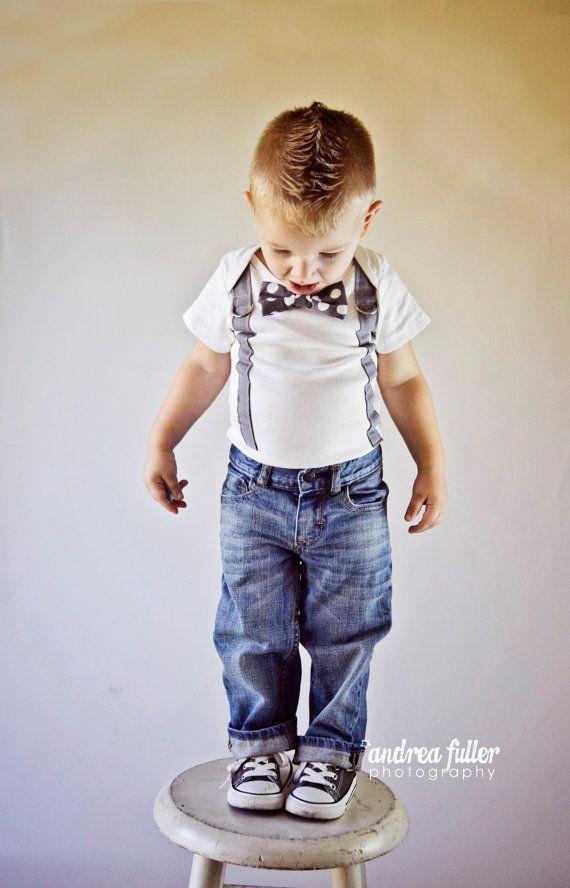 Baby Boy Bowtie & Suspender Onesie or shirt  by shopantsypants,