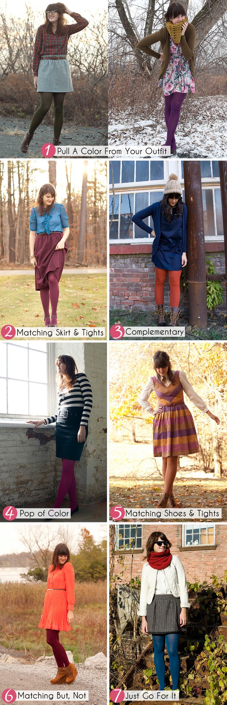 how to wear colored tights. Hmmm I like. But I like dresses and I don't... The struggles!