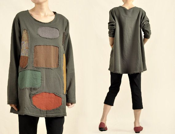 Fashion Women Army Green Patchwork Plus Size T-shirt Cotton Soft Tops Contrast Loose Fit Plus Size Clothing Long Sleeve Tshirt Free Size on Etsy, $52.00