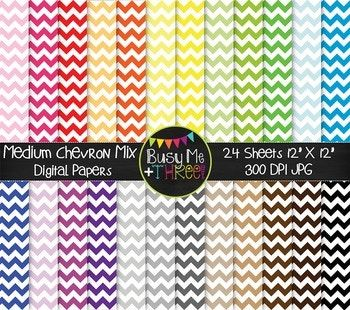 """Included in this MEDIUM Chevron MIX Digital Paper set is 24 papers. These are great for any digital product, party invitation, card, craft, scrapbook page, and more! Product Description: Size: 12""""x12"""" File Format: 300 DPI JPG images Be sure to check out my other DIGITAL PAPERS!"""