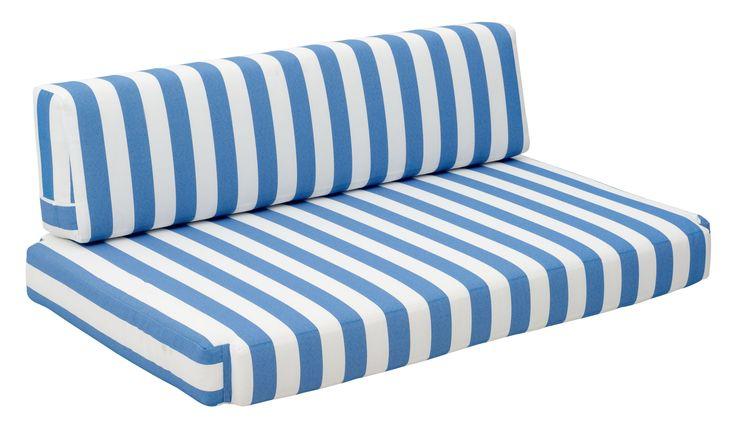 Bilander Outdoor Sofa Cushion in Blue & White Stripe Sunproof Fabric