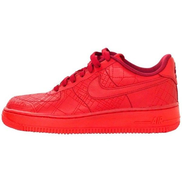 Preowned Nike Limited Edition Red Wmns City Collection Air Force 1... ($145) ❤ liked on Polyvore featuring shoes, sneakers, red, nike, nike sneakers, red trainers, nike shoes and tie sneakers