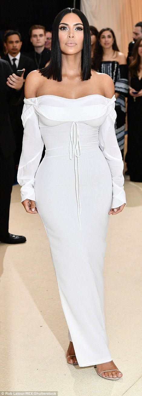 Keep it chic in a white off-the-shoulder dress like Kim #DailyMail