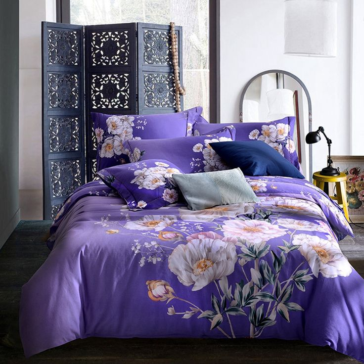Purple Duvet Cover Sets White Flower Patterns Beautiful and Fashionable 100% Cotton Bedding Sets for Teenagers and Adults