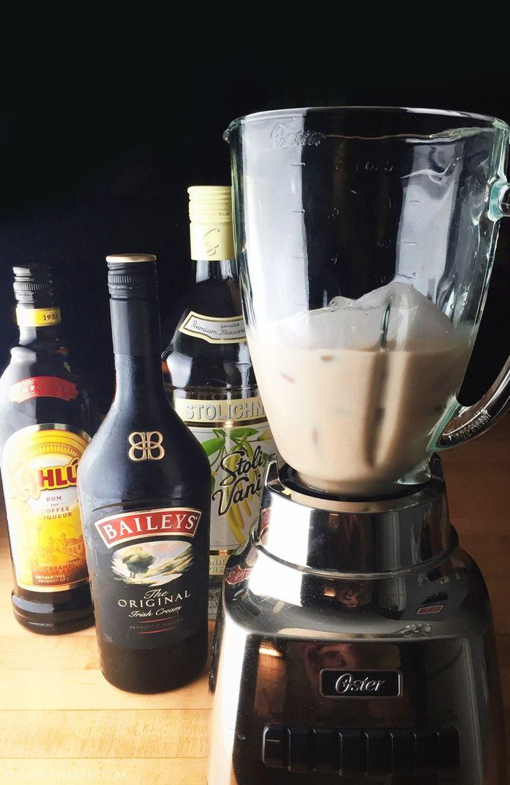 A frozen mudslide recipe with half the calories. All you need is vodka, coffee liquor, Irish cream and ice.