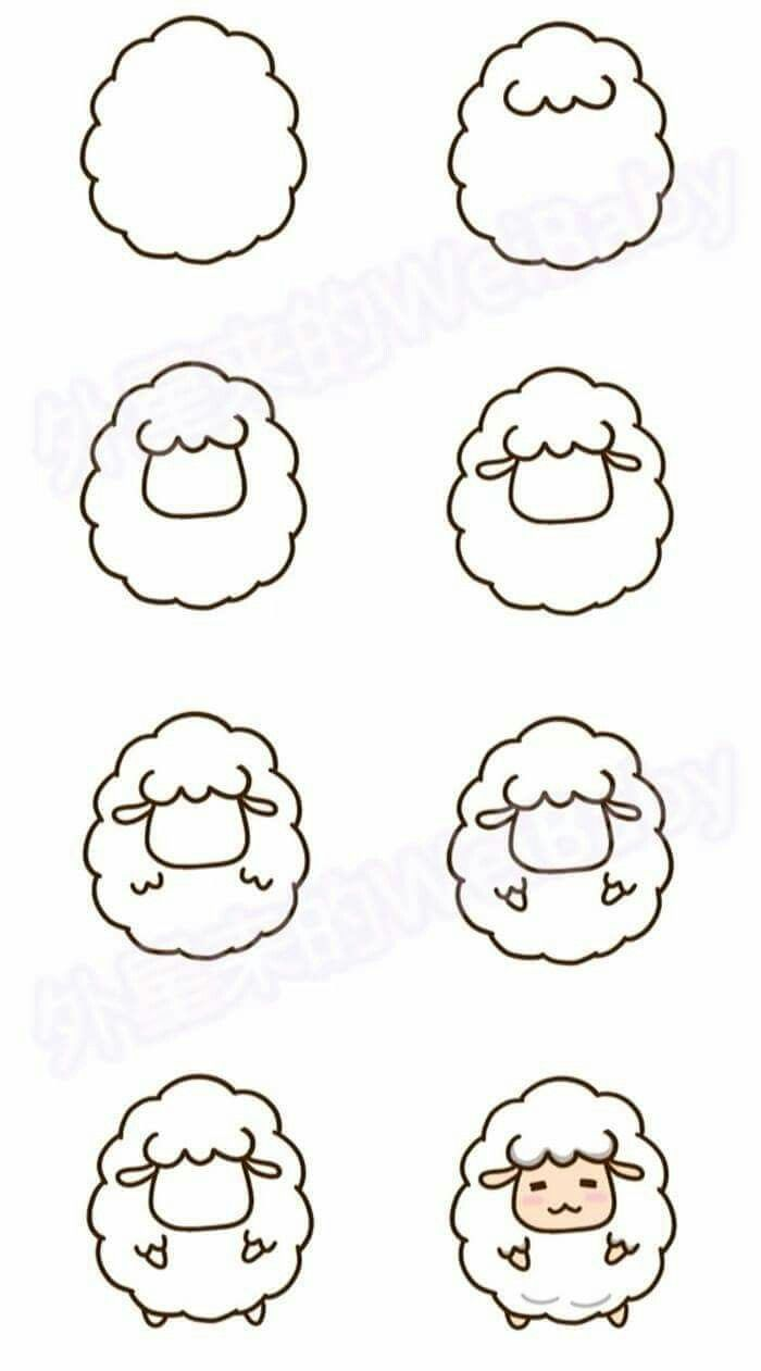 Schattig schaap tekenen stap voor stap🐏 – #scha…