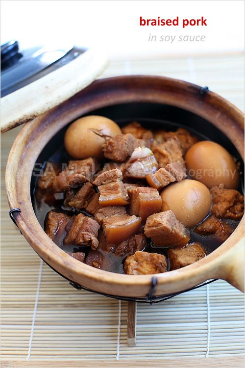 Braised Pork Belly in Soy Sauce (Tau Yew Bak) recipe - Pork belly is steeped in an intensely flavorful soy sauce. The taste is complex, sophisticated, addictive, and utterly delectable. In my family, there were always extras such as hard-boiled eggs, tofu, and sometimes, potatoes and mushrooms. #malaysian #pork