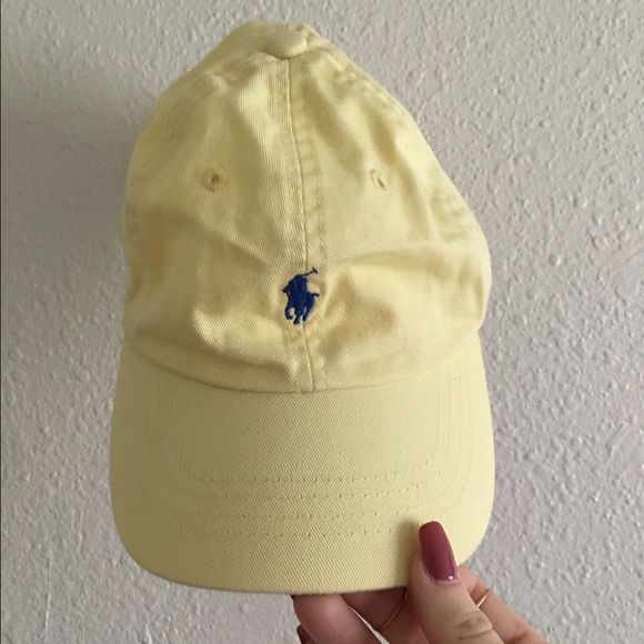Vintage Polo hat This light yellow vintage Polo hat is detailed with navy blue stitching!  Polo by Ralph Lauren Accessories Hats