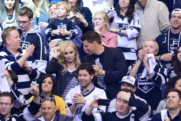 David Boreanaz and his wife Jaime Bergman attend an NHL playoff game between the San Jose Sharks and the Los Angeles Kings at Staples Center on April...