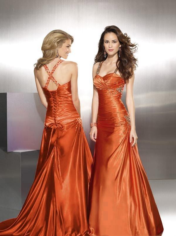 Enchanting Burnt Orange Prom Dress Illustration