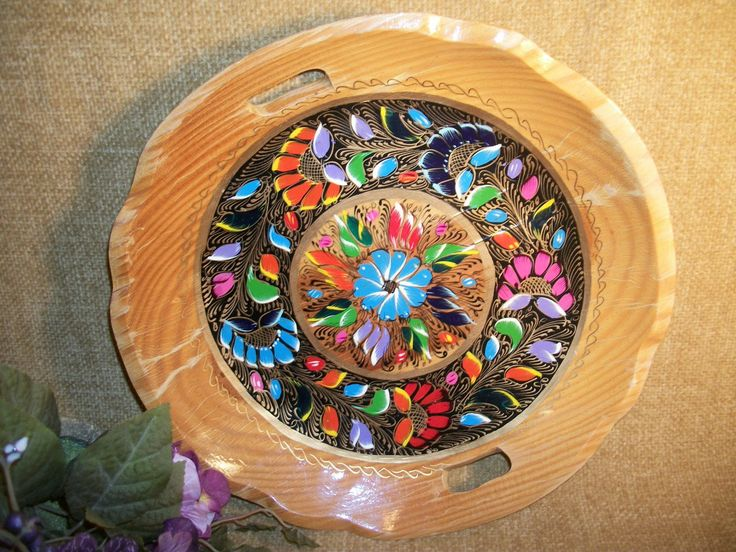 Tray Colorful Mexican Folk Art Decorative Hand Painted Vintage Wooden Platter Floral Wall Decor