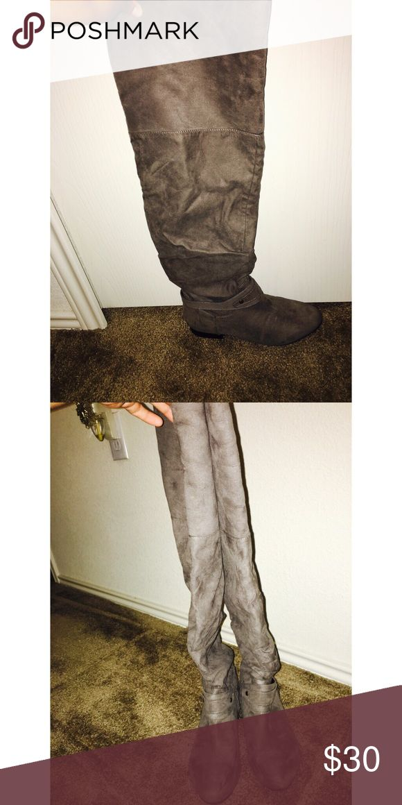 Knee high boots Grey women's boots Shoes Over the Knee Boots