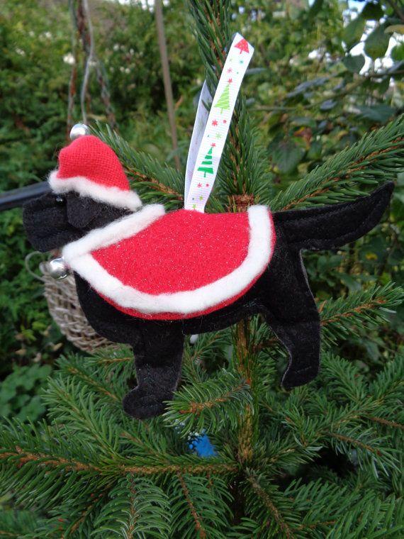 Handmade black felt Christmas Flat coated by CraftyBunnyDog