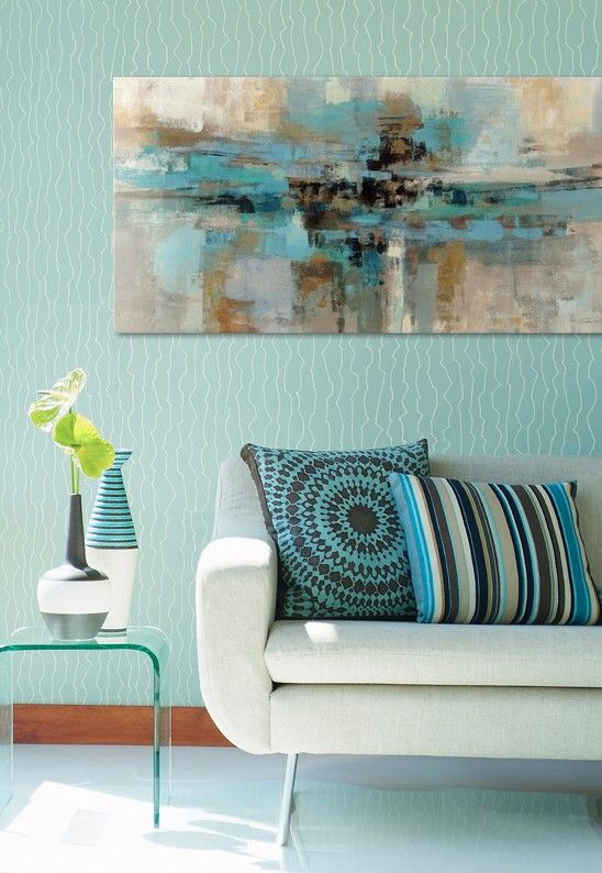 Stunning combination of my favorite colors! The blues, teals, and silvers play so well off of one another. This would look great in the living room. #art #abstract #greatbigcanvas