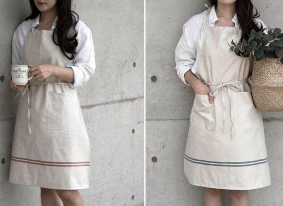 Cozymom Linen 100/% Premium Gift Chef Works Handmade Apron Japanese style Cross back Shape Cotton APRON-Indipink color cozymomdeco Others
