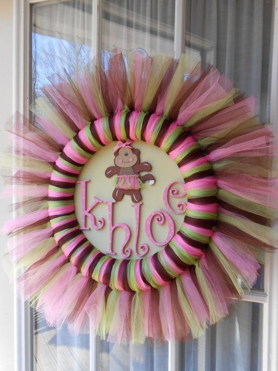 New Baby Girl - Jungle Jill Wreath for nursery. Pink, Green & Brown tulle wreath with handpainted name and monkey cutout.. $55.00, via Etsy.