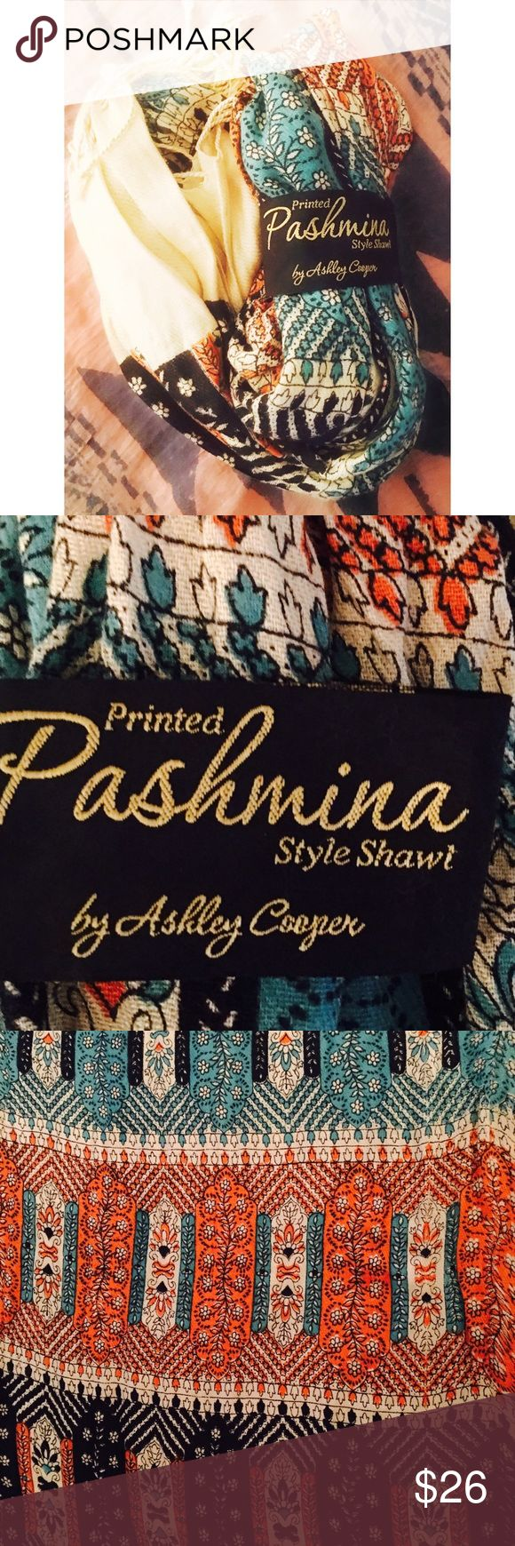 •pashmina• teal shawl • {ashley cooper} • scarf • Brand new Pashmina Wrap • Measurement to follow • if you need them sooner than later just comment me!  Trying to update everything! • Teal + Coral colors • Ashley Cooper Accessories Scarves & Wraps