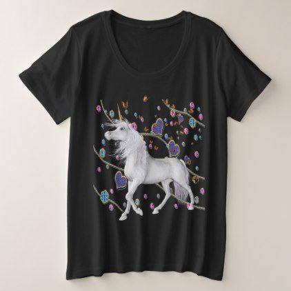Stars Hearts  Glitter Look Unicorn Butterfly Skies Plus Size T-Shirt - glitter glamour brilliance sparkle design idea diy elegant