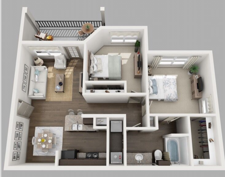 The Heron is Volars 2 Bedroom 1 Bath, it feautures Exclusive Time Warner Cable and Internet already included. no extra charge! you will have your Modern pendant lighting along with your track lighting.