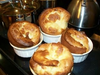 Popovers/yorkshire puddings: 2 eggs 1 cup flour 1 cup milk 1 tsp salt.  Whisk all ingredients together. Pour into 4 greased ramekins half full. Bake in 450 degree oven for 25 minutes. Turn down to 350 for another 15-20 minutes or until golden brown. Serve warm with butter or gravy!