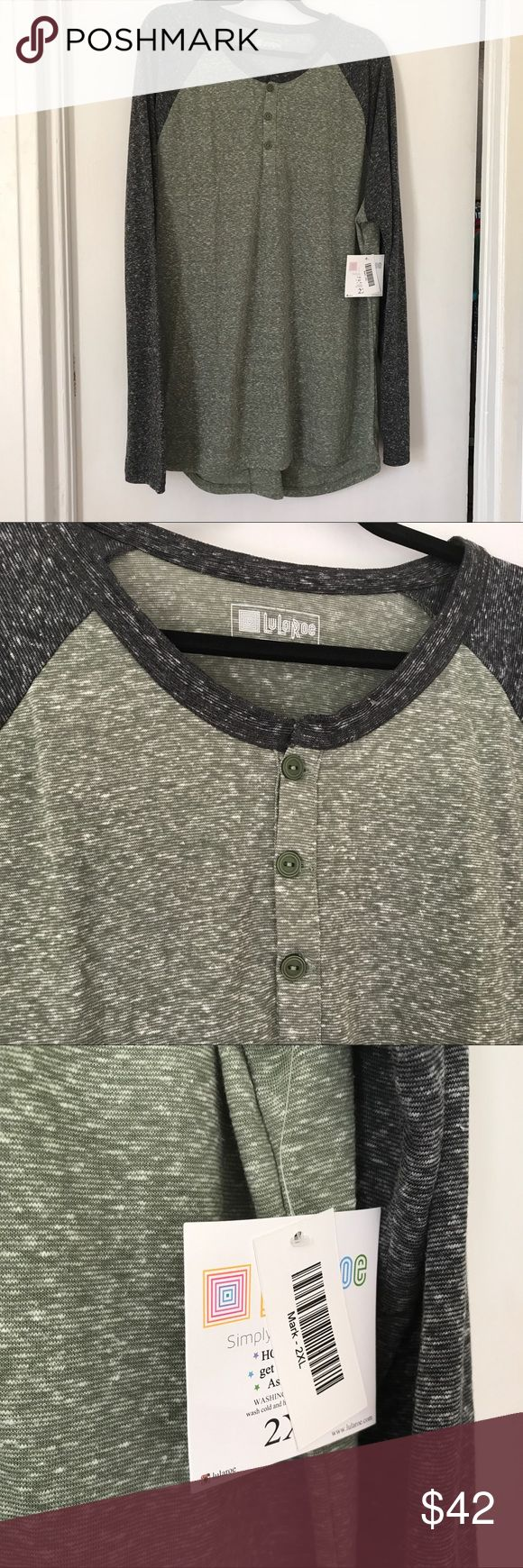 BNWT LuLaRoe 2X Mens Mark Long Sleeve Henley Tee BNWT LuLaRoe 2X Mens Mark Long Sleeve Henley Tee heathered green body w/ charcoal gray sleeves and collar. Super soft with three buttons at top. Perfect for a casual office or weekend wear. Fits TTS. LuLaRoe Shirts Tees - Long Sleeve