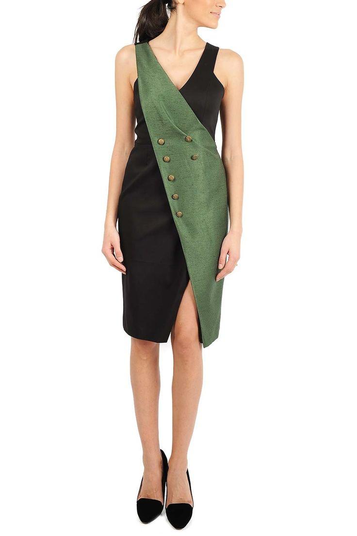 Rochie midi bumbac si brocart verde. Recomandari de stil: poarta rochia la birou impreuna cu un sacou cambrat si pantofi stiletto nude