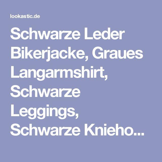 Schwarze Leder Bikerjacke, Graues Langarmshirt, Schwarze Leggings, Schwarze Kniehohe Stiefel aus Leder für Damen   Damenmode